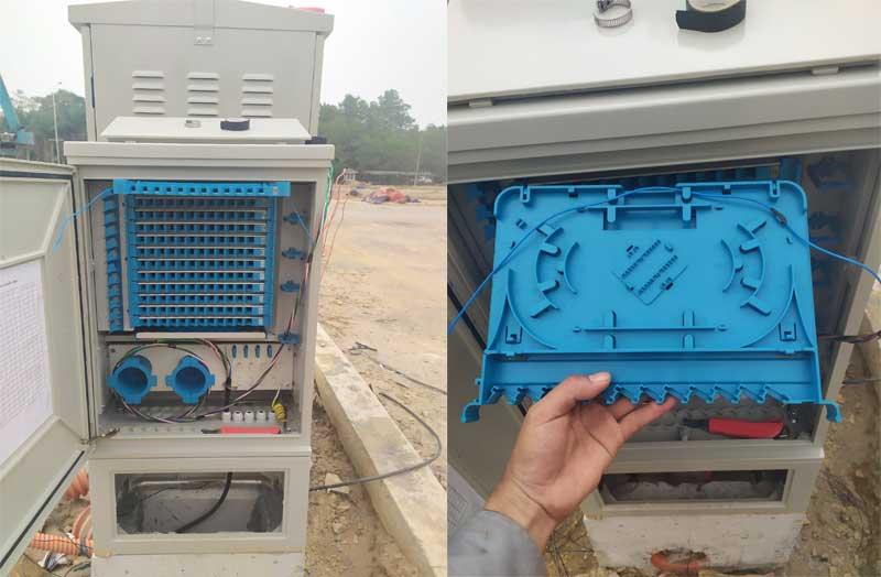 Hàn cáp quang tủ ODF 144Fo phối cáp vào tủ