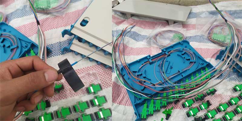 Hàn cáp quang tủ ODF 96, 144Fo phối cáp vào tủ