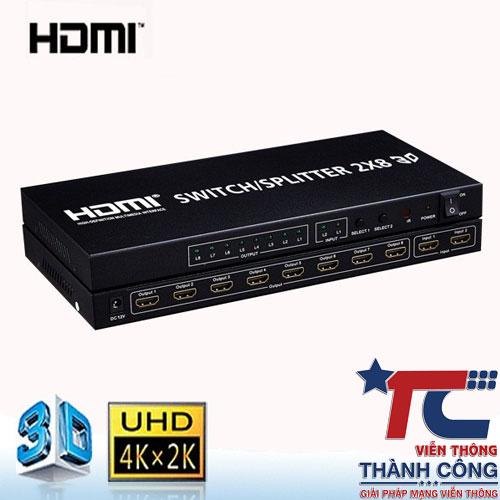 Bộ chia HDMI 2 vào 8 ra
