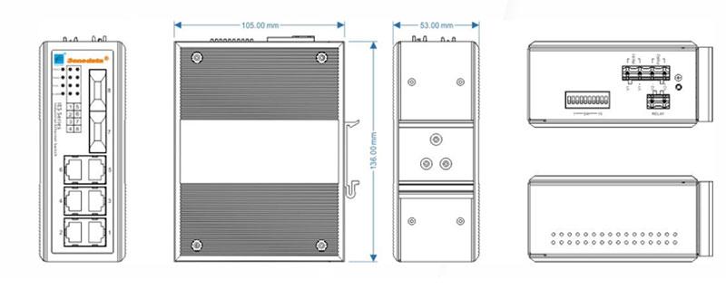 Kích thước Switch công nghiệp 3Onedata IES318-2F